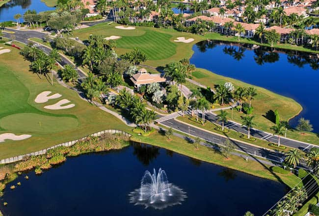 aerial view of entrance to nice florida golf community